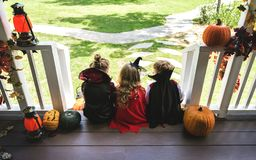 Little children trick or treating stock photos