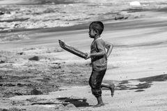 Little children from the village Lamalera. Royalty Free Stock Image