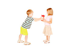 Little childrens love. Little boy giving  gift. Little childrens love. Little boy giving to little girl the gift. Present for birthday, valentine's day or other Royalty Free Stock Images