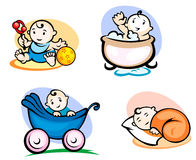 Little childs in cartoon style Royalty Free Stock Photography