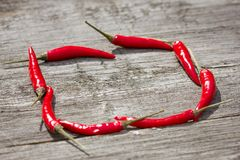 Little chili pepper on wooden stock images