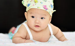 A little chinese baby. With black eyes Royalty Free Stock Photos