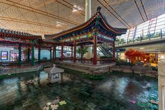 Little Chinese Garden and a Pond Royalty Free Stock Photography