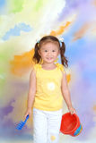 A little chinese girl. With toys Royalty Free Stock Photography