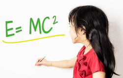 Little Chinese girl is learning formular Royalty Free Stock Images