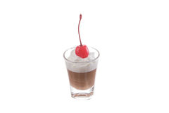 Little chocolate mousse. Chocolate mousse in little glass on isolate white background Stock Photos