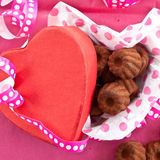 Little chocolates in red box Stock Photos