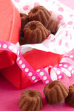 Little chocolates in red box Royalty Free Stock Images