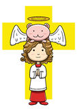 Little christian acolyte with angelic creature. Vector illustration  of a little christian acolyte praying with angelic creature Royalty Free Stock Images