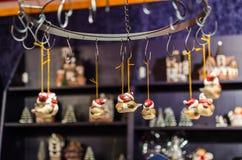 Little Christmas bird toys as decoration close-up on christmas market Stock Image