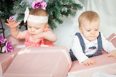 Little christmas boy and girl Royalty Free Stock Photography
