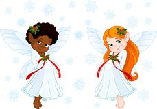 Little Christmas fairies Stock Photography