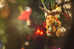Little Christmas felt bear. With hollyday accesories Stock Images