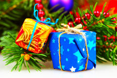 Little christmas gift boxes Royalty Free Stock Photography