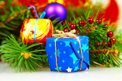 Little christmas gift boxes Stock Images