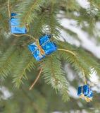 Little christmas gifts. On Christmas tree Stock Image