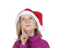 Little christmas girl looking up Stock Image