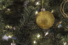 A gold and glittery ornament on a Christmas tree w royalty free stock photos