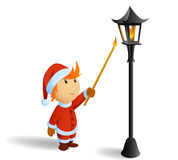 Little christmas santa firestarting lamppost. Vector illustration. Little santa in red clothe firestarting lamppost. Isolated christmas image Royalty Free Stock Image