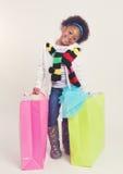 Little Christmas Shopper Girl Stock Photography
