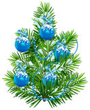 Little Christmas tree with blue balls and garland Royalty Free Stock Image