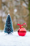 Little christmas tree with red bauble outdoors in snow Stock Image