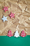 Little christmas trees on paper Stock Photography