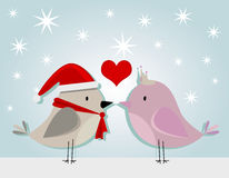 Little christmass lover bird. Vector illustration of little lover christmass bird Royalty Free Stock Photography