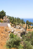 Little church with beautiful sea view in Greece Royalty Free Stock Image
