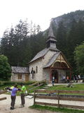 Little church on Braies lake Royalty Free Stock Photography
