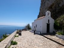 Chora capital of Skyros island, northern Aegean, Greece. Little church in Chora. Chora is the main village and the capital of the small island of Skyros, in royalty free stock photo
