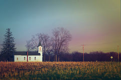 Little church in the countryside of Iowa before sunset horizontal Royalty Free Stock Photo