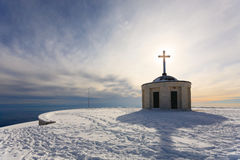 Little church with cristian cross Stock Photography