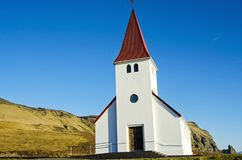 Little church on hill in Vik Iceland royalty free stock images