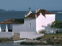 Little church on a island. Bonfim church Angra dos Reis - Rio de Janeiro - Brazil Royalty Free Stock Photography