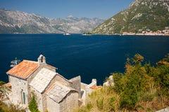 Kotor bay, Montenegro. Little church in Kotor bay, Montenegro stock photo