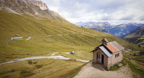 Little church on the Passo Pordoi Royalty Free Stock Photo