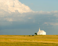 Little church on the prairie. With a dramatic sky Royalty Free Stock Images