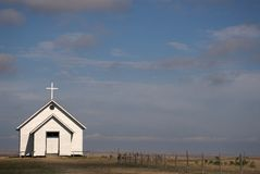 Little church on the prairie. Small isolated church on American prairie royalty free stock photography
