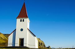 Little church on hill in Vik Iceland stock images