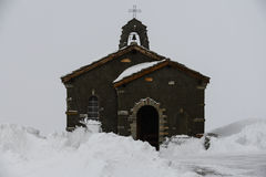 Little church on the snow mountain. This is a photo of little church on the snow mountain in Switzerland Royalty Free Stock Photography