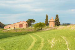 The little church of Vitaleta in Val d`Orcia Stock Photography