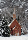 Little Church in Yosemite Valley at Christmas Stock Image