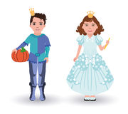 Little Cinderella princess and prince with pumpkin Royalty Free Stock Photography