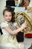 Little circus actress with tuba Stock Image