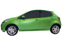 Little city green car royalty free stock photo