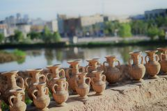 Little clay jars in Kashgar, Xinjiang, China, Uyghur autonomous region stock images