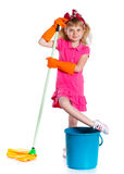 Little cleaning girl Royalty Free Stock Photo
