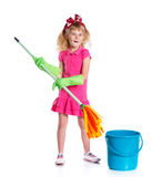 Little cleaning girl Stock Image