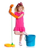 Little cleaning girl Stock Images